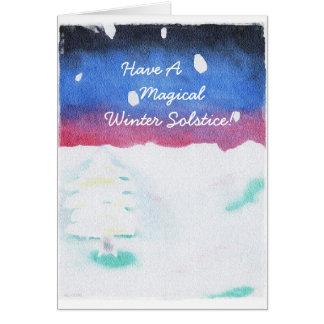 Tarjeta Escena Yule Nevado del solsticio de invierno