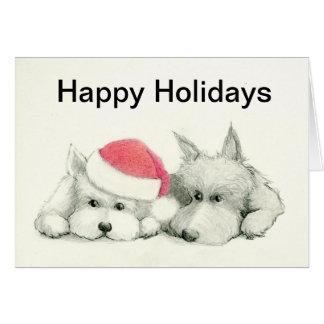 Tarjeta Escocés/tarjeta de Navidad de Westie