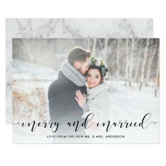 Tarjeta Escritura cariñosa el | feliz y casado con la foto