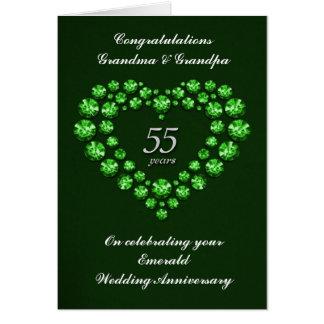 Tarjeta esmeralda del aniversario de boda - 55