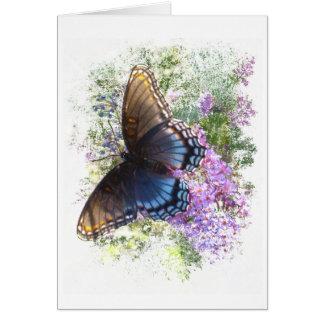 Tarjeta Espacio en blanco negro de la mariposa #2