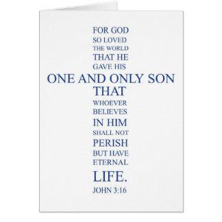 Tarjeta Espacio en blanco Notecard del 3:16 de Juan