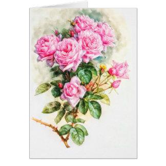 Tarjeta Espacio en blanco restaurado pintura color de rosa