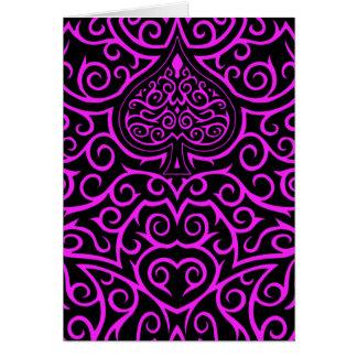 Tarjeta Espada y Scrollwork - rosa