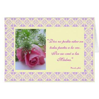 Tarjeta Español: Creo de Dios al día de los madres /Mother