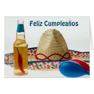 TARJETA ESPAÑOL DEL CUMPLEAÑOS DE FELIZ CUMPLEANOS-HAPPY