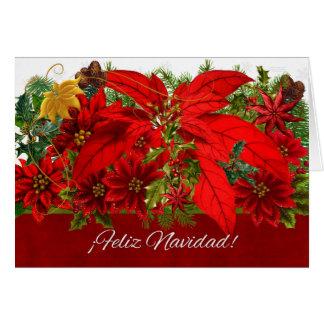 Tarjeta ¡¡Español Feliz Navidad de los Poinsettias del