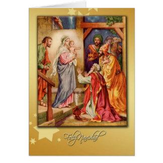 tarjeta española de la natividad de las Felices