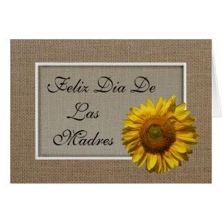 Tarjeta española del día de madres - girasol
