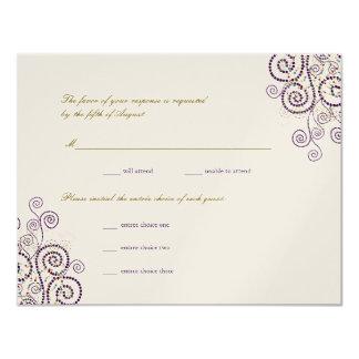 Tarjeta Espirales púrpuras elegantes de Boho que casan la