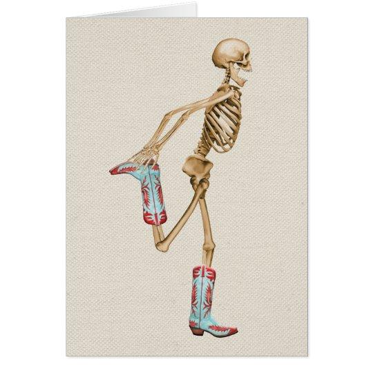 Tarjeta Esqueleto en botas de vaquero coloridas