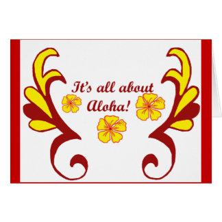 Tarjeta ¡Está todo sobre hawaiana!