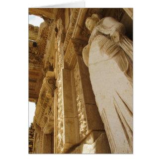 Tarjeta Estatua de Sophia, biblioteca de Celsus, Ephesus