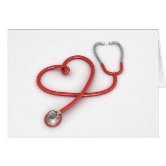 Tarjeta Estetoscopio y corazón