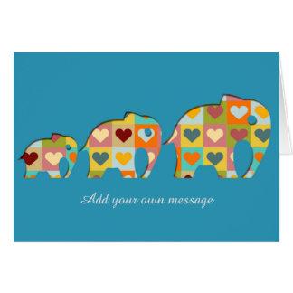 Tarjeta Estilo coloreado de Papercut de los elefantes de