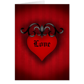 Tarjeta Estilo medieval gótico del corazón rojo romántico