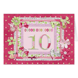 Tarjeta estilo scrapbooking del 10mo cumpleaños