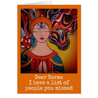 Tarjeta Estimada Karma, boho de la meditación del zen de