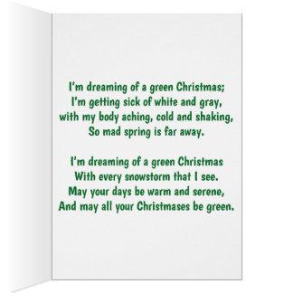 Tarjeta Estoy soñando con navidad verde