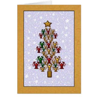 Tarjeta Estrellas del árbol de navidad de la langosta de