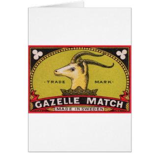 Tarjeta Etiqueta sueca de la caja de cerillas del Gazelle