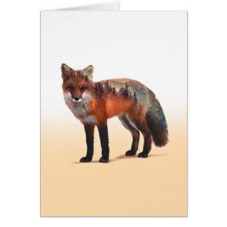 Tarjeta Exposición doble del Fox - arte del zorro - zorro