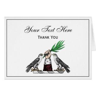 Tarjeta Falcons heráldicos del vintage con el emblema del