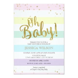 Tarjeta Falsa fiesta de bienvenida al bebé de las rayas
