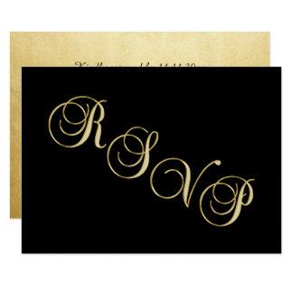 Tarjeta Falso aniversario de boda negro elegante de RSVP