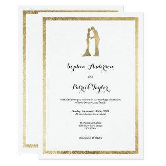 Tarjeta Falso boda blanco moderno elegante simple del oro