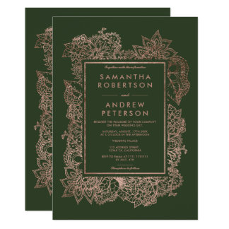 Tarjeta Falso boda color de rosa floral del verde caqui