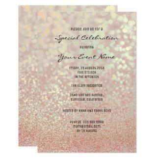 Tarjeta Falso brillo Champán del oro color de rosa rosado