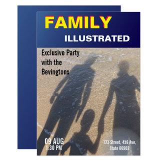 Tarjeta Falso fiesta de la playa de la familia de la