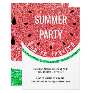 Tarjeta falso fiesta del verano de la sandía del brillo