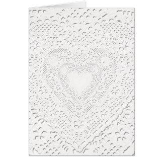 Tarjeta Falso fondo blanco de la tela del cordón