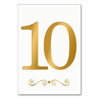 Tarjeta Falso número metálico 10 del oro brillante