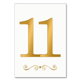 Tarjeta Falso número metálico 11 del oro brillante