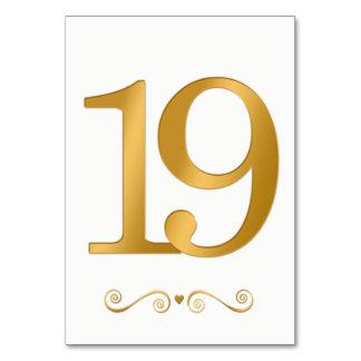 Tarjeta Falso número metálico 19 del oro brillante