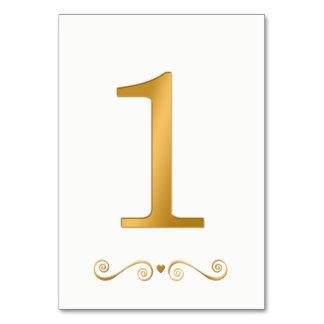 Tarjeta Falso número metálico 1 del oro brillante elegante