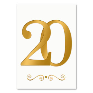 Tarjeta Falso número metálico 20 del oro brillante