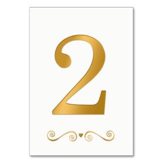 Tarjeta Falso número metálico 2 del oro brillante elegante