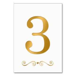 Tarjeta Falso número metálico 3 del oro brillante elegante