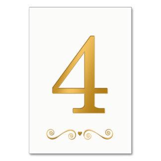 Tarjeta Falso número metálico 4 del oro brillante elegante