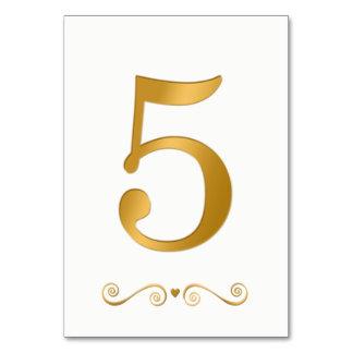 Tarjeta Falso número metálico 5 del oro brillante elegante