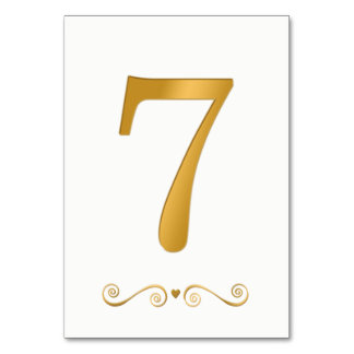 Tarjeta Falso número metálico 7 del oro brillante elegante