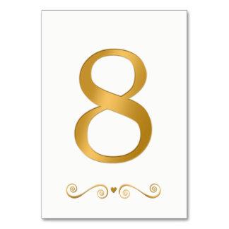 Tarjeta Falso número metálico 8 del oro brillante elegante