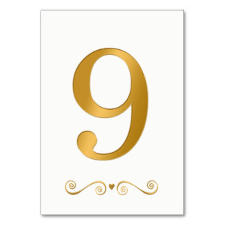 Tarjeta Falso número metálico 9 del oro brillante elegante