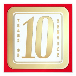 Tarjeta FALSO ORO premio del servicio del empleado de 10