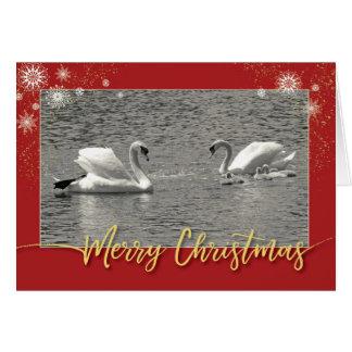 Tarjeta Familia del cisne de las Felices Navidad