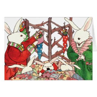 Tarjeta Familia del conejito del navidad